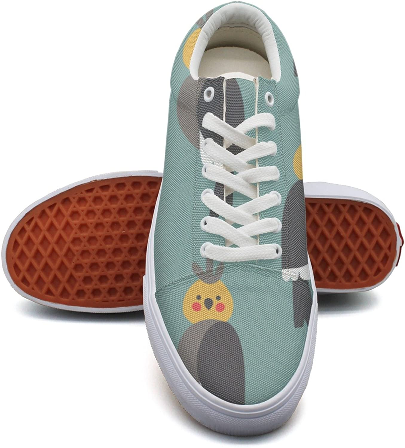 Feenfling Cute Cockatiels Pattern Womens Denim Canvas Sneakers Low Top Trendy Basketball shoes for Women