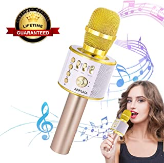 Ankuka Bluetooth Karaoke Microphone, 3 in 1 Multi-Function Handheld Wireless Karaoke Machine for Kids, Portable Mic Speaker Home, Party Singing Compatible with iPhone/Android/PC (Light Gold)