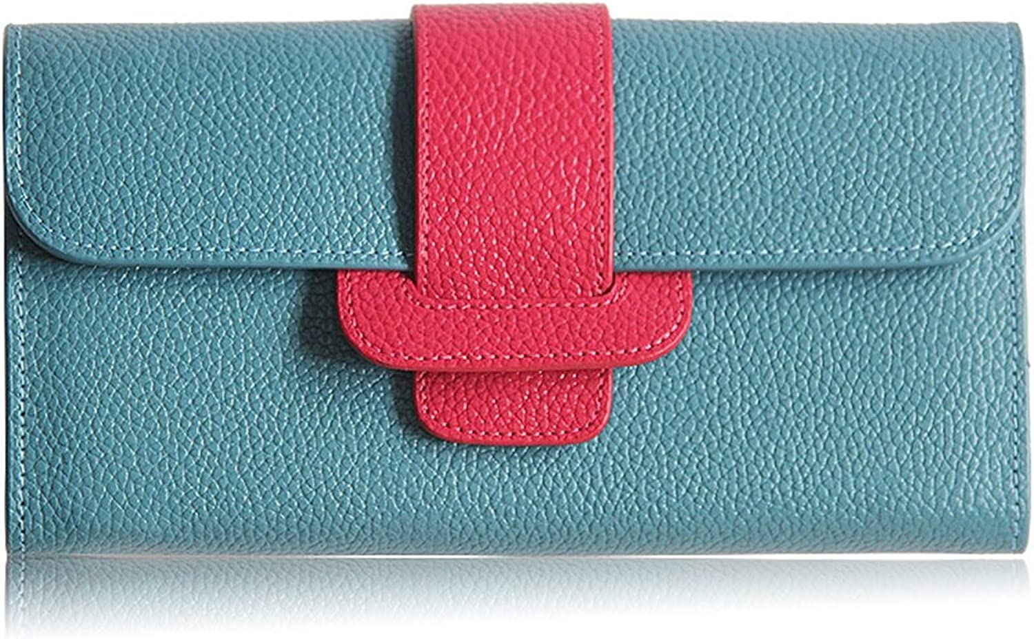 Ladies Wallet Leather, Women Wallet, Slim Long Wallet, Waxed Leather, Vintage Design, Wallet,bluee with pink(20.5  3  11.5cm)