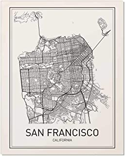 San Francisco Map, City Map Poster, San Francisco Print, California Print, California Map, City Maps, Map Print, Map Art Print, Black and White, Map Wall Art, Map Art, Scandinavian Poster, 8x10