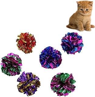 10x chytaii pelota bola de papel purpurina juguete para gato interactiva