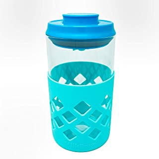 MILKBOX PLUS Glass Airtight Push Button Pop Top Food Storage Container - BPA Free - 1.4 Qt for Sugar, Baby Formula, Coffee...