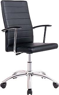 Silla de escritorio para despacho modelo LOOK base ruedas color negro – Sedutahome