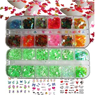 Holographic Nail Sequins Star Leaf Iridescent Nail Glitters Flakes Resin Nail Art Decorations Chunky Glitter Flower Stickers Decals for Nail Art & Crafts (SET015A)