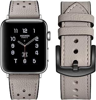 Apple watch band Hermes アップルの時計バンドの38 mmの42 mmのエルメス本物の革のバンドを見て交替アップル3ならびに1ナイキエルメス・エディションのための古典的な金属の留め金によるシングルアダプタツアー (38mm, Gray)