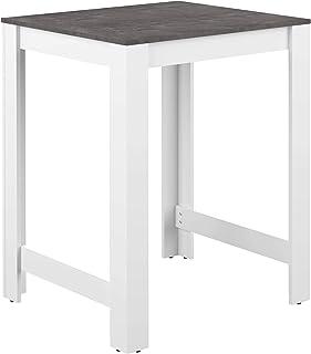 AmazonBasics - Mesa alta 80 x 70 x 102cm (largo x ancho x alto) blanco y efecto hormigón