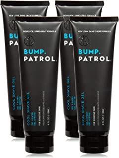 Bump Patrol Cool Shave Gel - Sensitive Clear Shaving Gel With Menthol Prevents Razor Burn, Bumps, Ingrown Hair - 4 Ounces 4 Pack