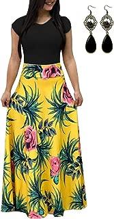 BYSTE Donna Vestito Lungo Maxi Dress Abiti Lunghi Estivi Beach Abito A Righe Sera Partito Estate Vestito Sciolto Cocktail Abito