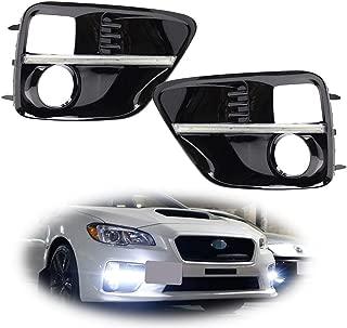 iJDMTOY Xenon White LED Daytime Running Lights For 2015-2017 Subaru WRX/STi w/JDM Style Piano Black Finish Fog Lamp Bezels