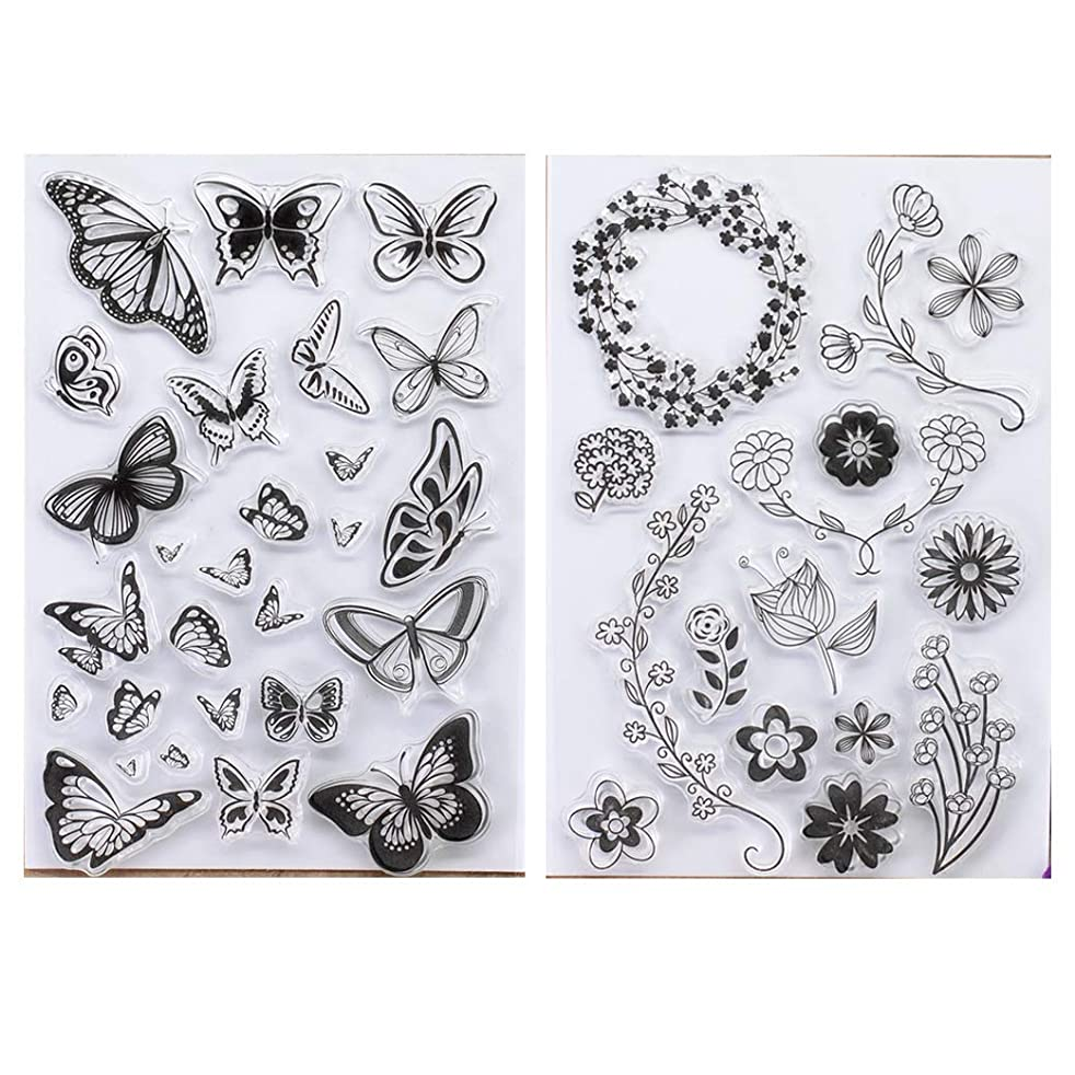 Kwan Crafts 2 Sheets Different Style Butterfly Flowers Clear Stamps for Card Making Decoration and DIY Scrapbooking