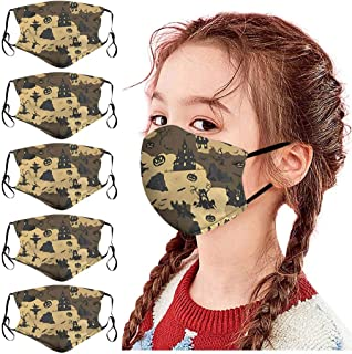 Padaleks 5 Pcs Cloth Face Madks, Kids Washable and Reusable Soft Cotton Halloween Warm Face Protection for Outdoor