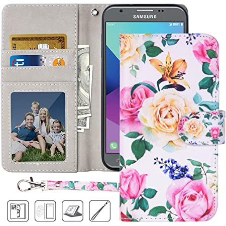 MagicSky Galaxy J3 Emerge/J3 Eclipse Luna Pro/J3 Prime/Amp Prime 2 Wallet Case, PU Leather Folio Flip Case Cover with Wrist Strap,Card Holder,Kickstand for Samsung Galaxy J3 2017, Flower