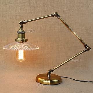 Folding Brass Metal Table Lamp Gloss Energy Saving Reading Table Light Swing Long Swing Arm Adjustable Handle Retro Industry Nostalgic Iron Art Reading Lights Glass Lamp Cover Desk Lamp