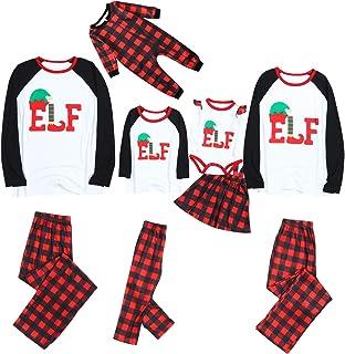 shengyijia Whole Family Christmas Pajamas Outfits Set Parents Men Women Kids Cartoon Letter Print Sweatshirt + Jogging Bot...