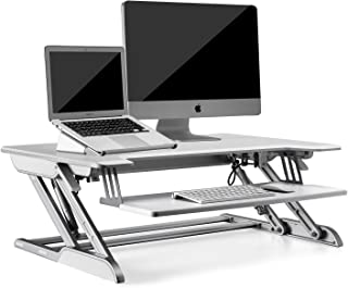 "UPERGO 36"" Aluminum Frame Height Adjustable Sit-Standing Desk Converter with Keyboard Tray, White(ID-36W)"