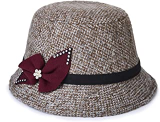 Lei Zhang Ladies hat New Woolen hat Middle-Aged Mother hat (Color : Claret, Size : 56-58cm)
