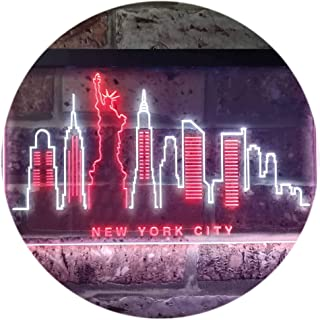 New York City Skyline Silhouette Dual Color LED Neon Sign White & Red 400 x 300mm st6s43-i3275-wr