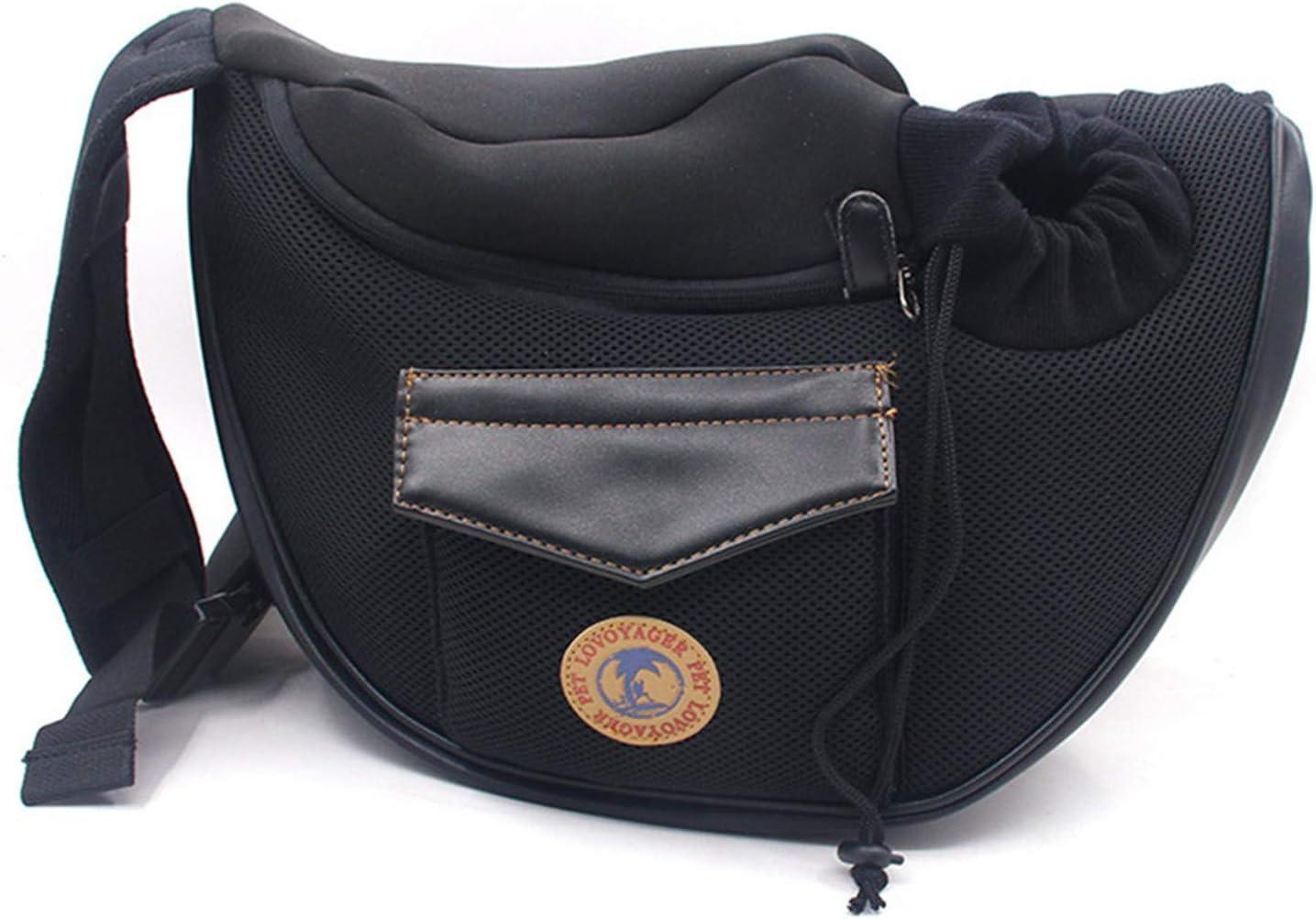 Crafttable Pet Sling Carrier Bag Black Hands-Free Cat Sling Carrier Bag Adjustable Padded Strap Front Pouch Shoulder Bag