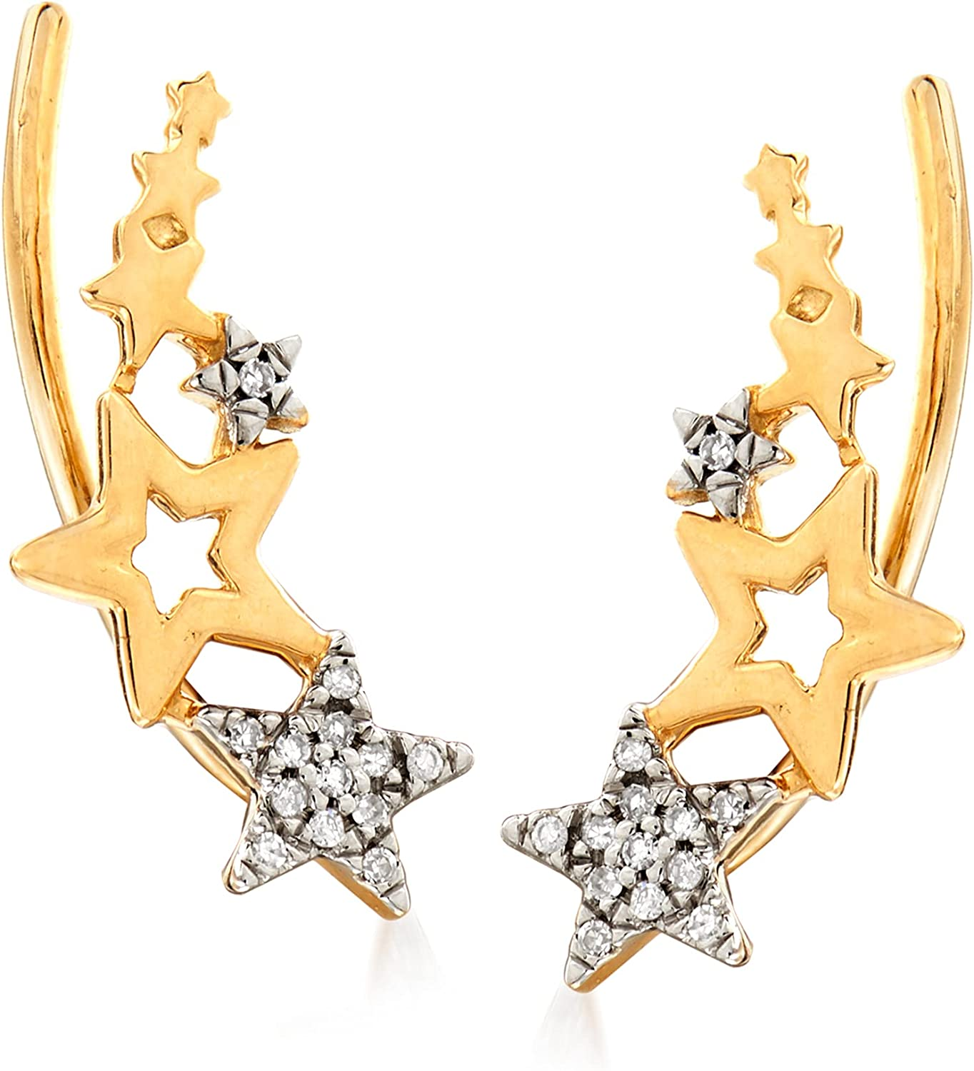 Ross-Simons 14kt Yellow Gold Multi-Star Ear Climbers With Diamond Accents