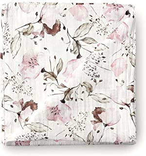 Aenne Baby Girl Floral Muslin Swaddle Blanket Large 47 x 47 inch, 1 Pack, Baby Shower Gifts for Girls, Nursing Cover, Baby Wrap Cloth