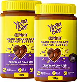 Yogabar Crunchy Peanut Butter (Buy 1 Get 1 Free) | Dark Chocolate Peanut Butter with High Protein & Anti-Oxidants | Cream...