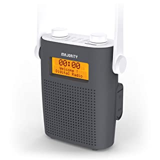 MAJORITY Eversden DAB Water Resistant Portable Shower Radio   Bluetooth   Mains Powered & Rechargeable Battery