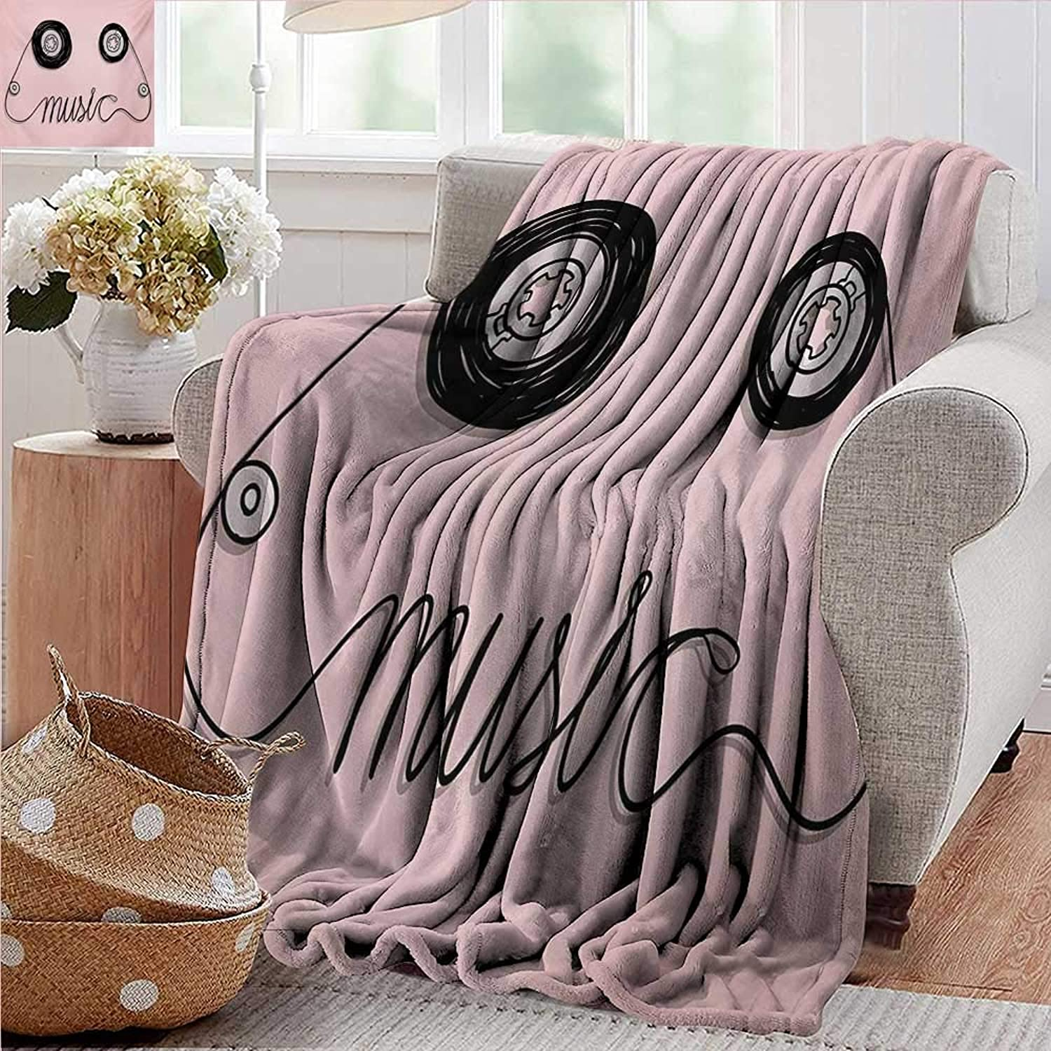 PearlRolan Weighted Blanket for Kids,Music,Music Letters Written by Cassette Tape Loud Improvisation Beat Pulse Tempo Image,Pink Black,Weighted Blanket for Adults Kids, Better Deeper Sleep 35 x60