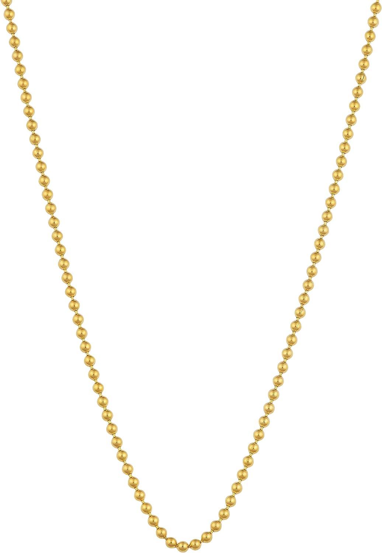 Kooljewelry 14k Yellow Gold 1 mm Shiny Bead Ball Chain Necklace