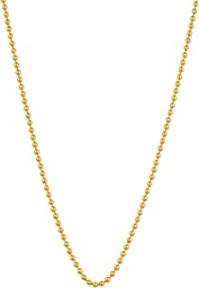 14k Yellow Gold 1 mm Shiny Bead Ball Chain Necklace