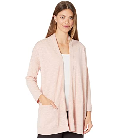 Eileen Fisher Organic Cotton Linen Slub High Collar Cardigan (Powder) Women