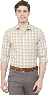 CAVALLO by Linen Club Spread Collar Regular Fit Checked Linen Formal Shirt for Men-Brown