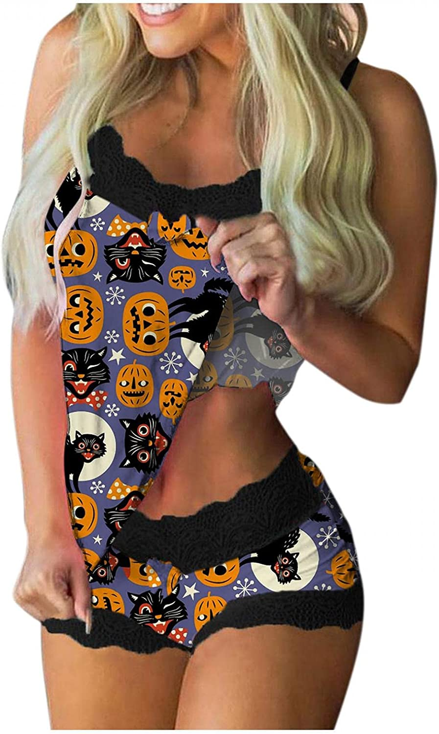 Pajamas for Women,Women Cute Halloween Printed Lingerie Sets Sexy Teddy Babydoll Underwear Pajamas Casual Lingerie Sets