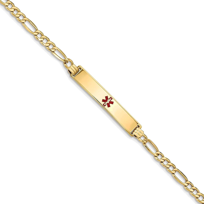 Bonyak Jewelry Semi-Solid Medical Red Enamel ID Bracelet in 14K
