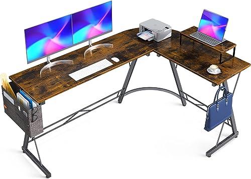 """2021 Casaottima L Shaped Desk, 66"""" Gaming Desk, Computer Desk, L Desk, Home Office Desk outlet online sale sale with Iron Hook, Movable Monitor Stand Workstation, Vintage online"""