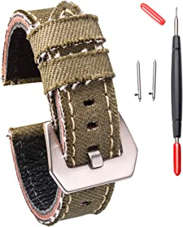 20mm Canvas Watch Bands, Watch Bands for Men Women, Quick Release Handmade Cowboy Watch Strap Soft Vintage Replacement