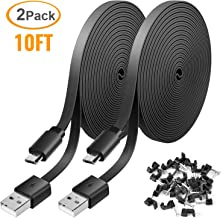 2 Pack 10FT Power Extension Cable for WyzeCam, WyzeCam Pan, KasaCam Indoor, NestCam Indoor, Yi Camera, Blink, Amazon Cloud Cam, USB to Micro USB Durable Charging and Data Sync Cord (Black)
