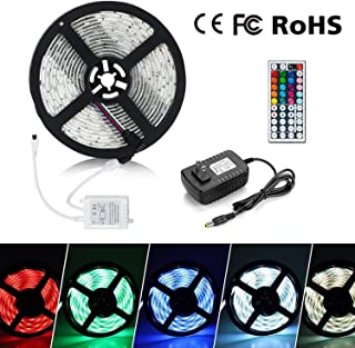 Eternal Home LED Strip Lights, 16.4ft 300LEDs Waterproof LED Strip Lights 3528 RGB Flexible Color Changing LED Light Strip with 44 Key IR Remote Controller 2A UL Power Adapter