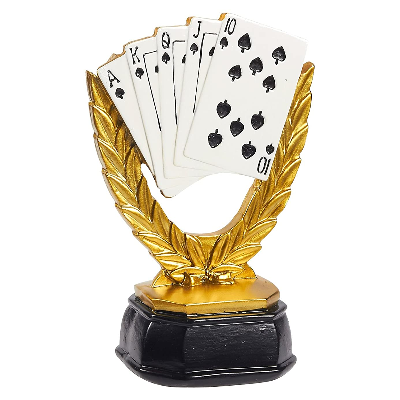Juvale Poker Trophy - Small Playing Cards Resin Award Trophy for Poker Tournaments, Competitions, Parties, 5 x 7.75 x 3.75 Inches