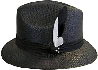 e2943d30070ca Black Pachuco Fedora Derby with White   Black Feather Lowrider Brim