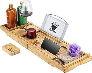 My Little Spa Bamboo Bathtub Caddy/Tray - Wooden Bath Reading Tray with Expandable Sides- Luxury Spa Organizer, Eco-Friendly Wood Bathtub Organizer-Tablet Holder, Wine Glass Slot, Free Soap Dish