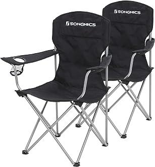 Klappstuhl SONGMICS Campingstuhl bis 150 kg belastbar Kopfst/ütze und Getr/änkehaltern stabiles Gestell Outdoor-Stuhl mit Armlehnen dunkelblau GCB09IN
