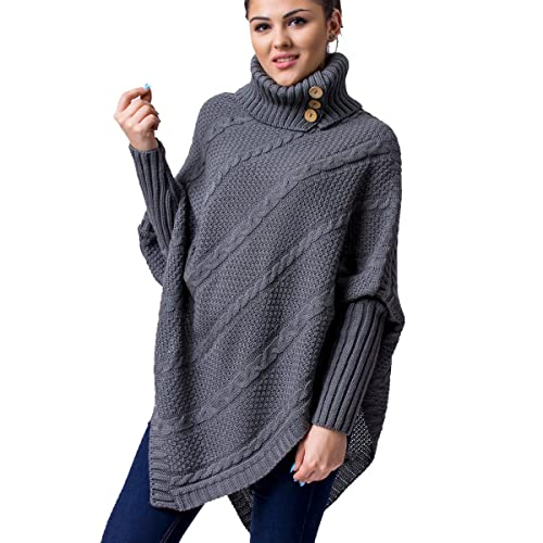 c6835a080e WozWoz Women's Polo Neck Knit Poncho Cape Sweater with Sleeves