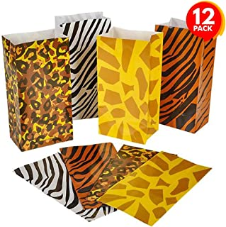ArtCreativity Safari Theme Party Favor Bags - Pack of 12 - Animal Print Goody Gift Bags with 4 Designs - Durable Treat Goodie Bags - Zoo, Jungle Party Supplies for Birthday, Baby Shower