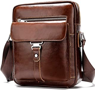 First Layer Leather Men's Briefcase, Fashion Casual Retro Shoulder Messenger Bag
