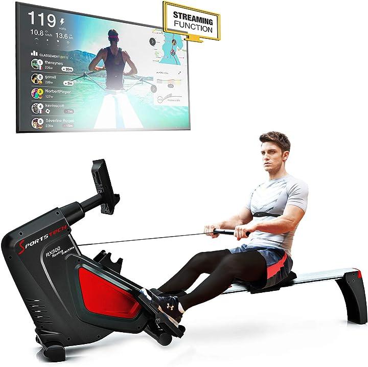 Vogatore rsx500 pieghevole. controllo smartphone via app, 12 programmi di allenamento sportstech sp_rsx500