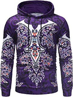 Mogogo Mens Hood Digital Print Pullover Long-Sleeve Fall Winter Shirt