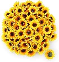 "T4U 100PCS Artificial Silk Sunflower Heads Faux Sunflower Heads in Yellow for Home Garden Wedding Party Decoration Garland Wreath DIY Craft(Diameter:2.75"")"
