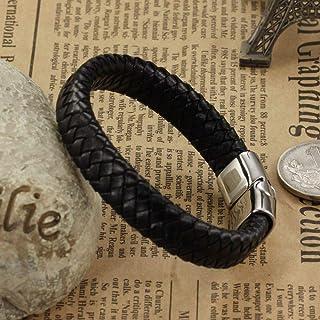 Men's handmade Titanium steel Silicone leather fashion bracelet (P894)