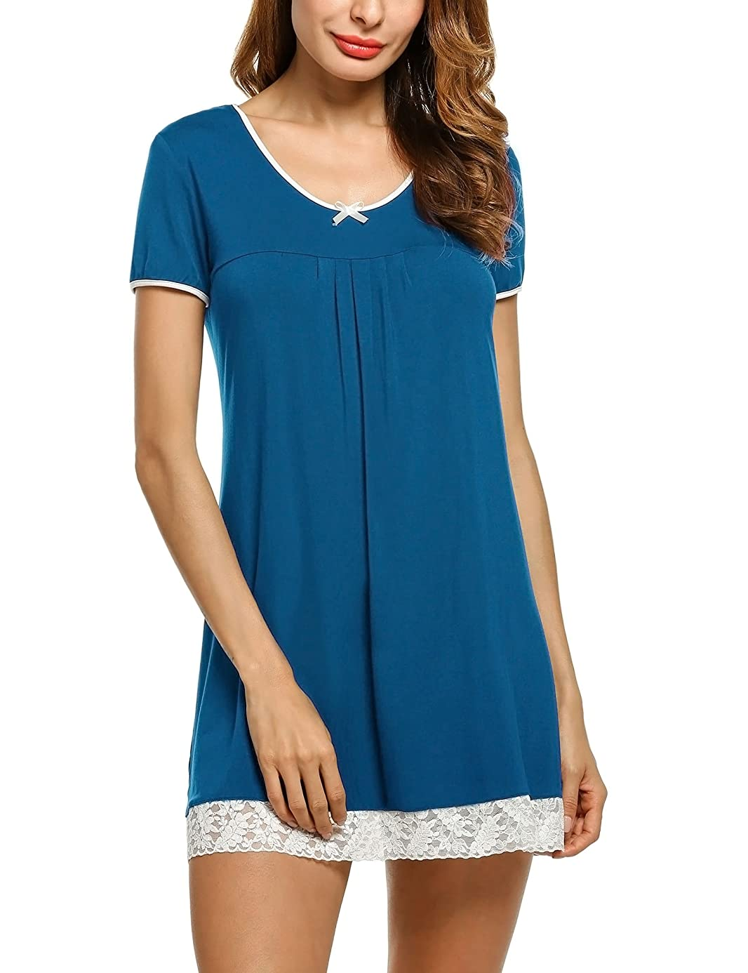 Hotouch Sleepwear Womens Cotton Nightgown Short Sleeve Sleep Nightdress Scoopneck Sleep Tee Nightshirt S-XXL pnx6627236