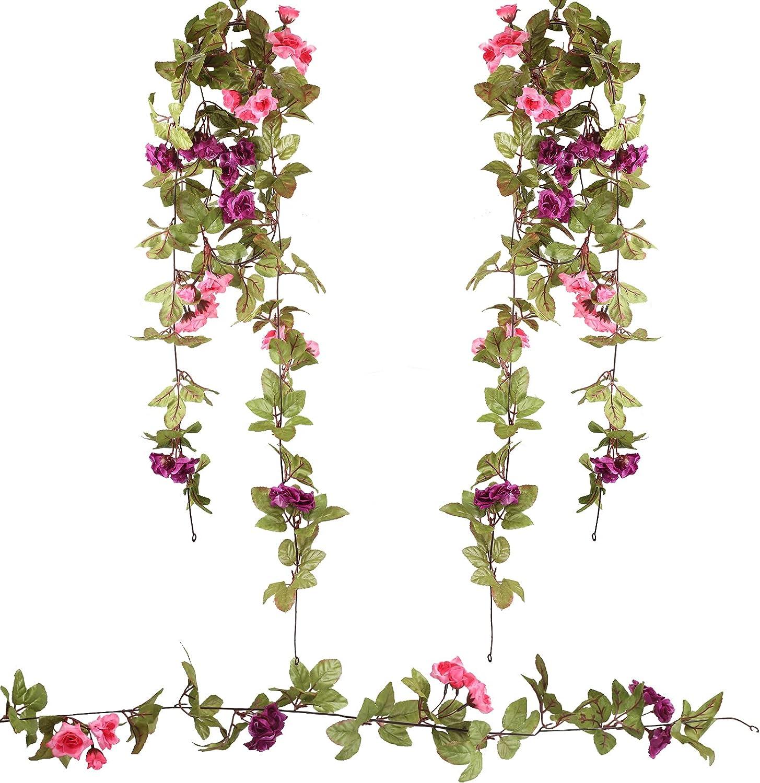 HAMOOM 2 * 120cm Flores Artificiales Bodas Decoracion Vintage Guirnalda de Rosa Artículo Exterior Romantico Adorno Rustico Decorativo Colgante Planta Falsa Violáceo Vides Verde para Boda Jardín.